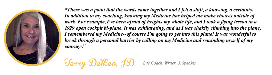 There was a point that the words came together and I felt a shift, a knowing, a certainty. In addition to my coaching, knowing my Medicine has helped me make choices outside of work. - Terrry DeMeo, JD, Life Coach, Writer, and Speaker